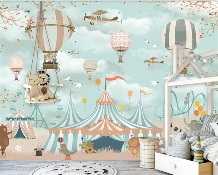 Beibehang Large 3d Wallpaper Cartoon Hot Air Balloon Airplane Animal Pup Circus Playground Background Wall 3d wallpaper mural