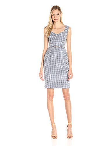 Nine West Women's Gingham Belted Dress, Navy/Ivory, 12 Ni... https://www.amazon.com/dp/B019QM2AZK/ref=cm_sw_r_pi_dp_q1fyxbX3J06DS