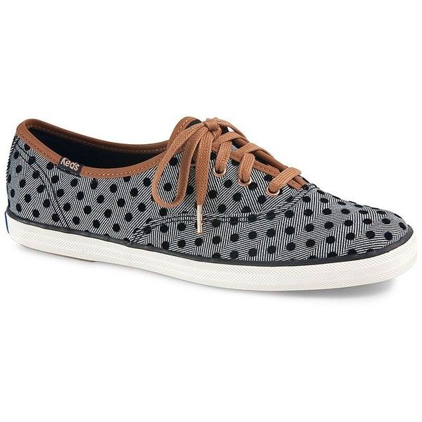 Keds Women's Champion Herringbone and Polka Dot Sneakers (125 BRL) ❤ liked on Polyvore featuring shoes, sneakers, black, black trainers, lace up sneakers, black lace up sneakers, black lace up shoes and canvas sneakers