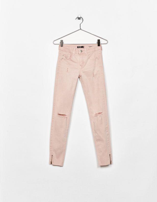 Ripped super skinny trousers - Bershka #ripped #skinny #trousers #pink #bershka