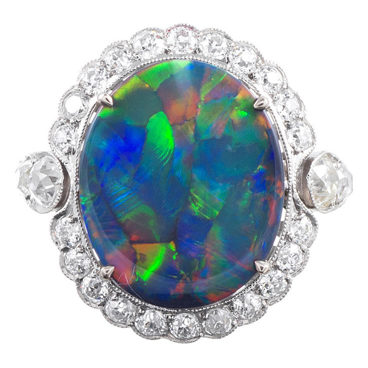 Lightning Ridge Black Opal Amp Diamond French Ring Black