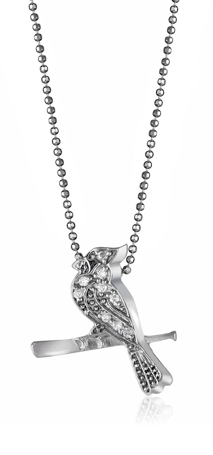 """Alex Woo """"Little MLB"""" Saint Louis Cardinals 14k White Gold with Diamonds Pendant Necklace, 16"""". Made in United States."""