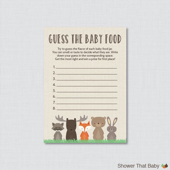 Woodland Baby Shower Game Baby Food Game Guess By