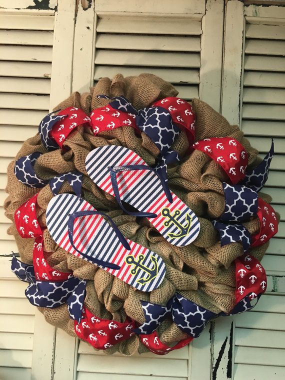 Nautical Flip Flop Wreath Burlap Red and Navy by LoveBirksWreaths