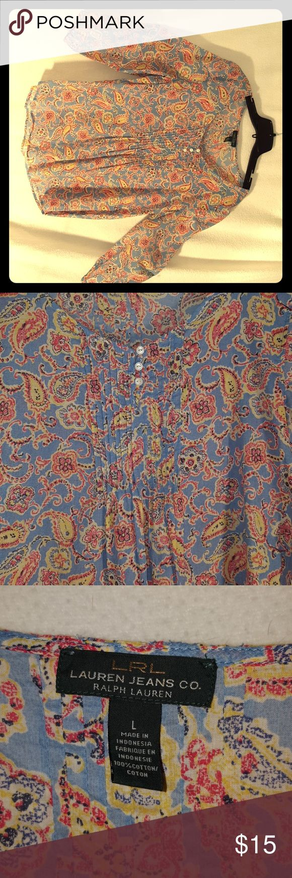 Multi color blouse 100% cotton multicolored, lightweight,  3/4 sleeve, scoop type neck with pleating and buttons. Paisley pattern Lauren Jeans Co Ralph Lauren Tops Blouses