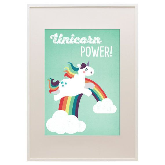 Affiche Licorne Power, 11 « x 16 », Art Print, impression des animaux Art, Illustration, Vector Art, chambre d