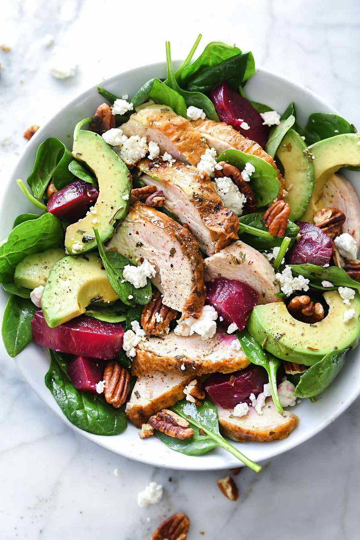 With a bit of planning and beginning of the week meal prep, your mid-week lunch can be a fresh tasting and totally fast to make bed of fresh spinach salad topped with make-ahead chicken breast and sliced avocado, tossed with everyone's favorite salad combination of beets, goat cheese and pecans.