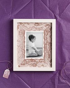 Lace covered matt picture frame. cute gift idea
