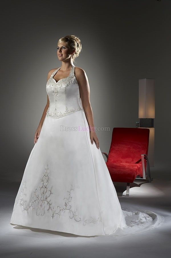 White A-Line/Princess Halter Long/Floor-length Hall Wedding Dresses With Embroidery WD2A25