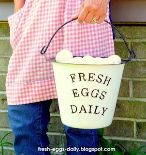 Faux Enamelware Milk Pail MakeoverNice Job, Enamelware Milk, Milk Pail, Cant Wait, Fresh Eggs Daily, Pink Gingham, Lay Eggs, Faux Enamelware, Pail Makeovers