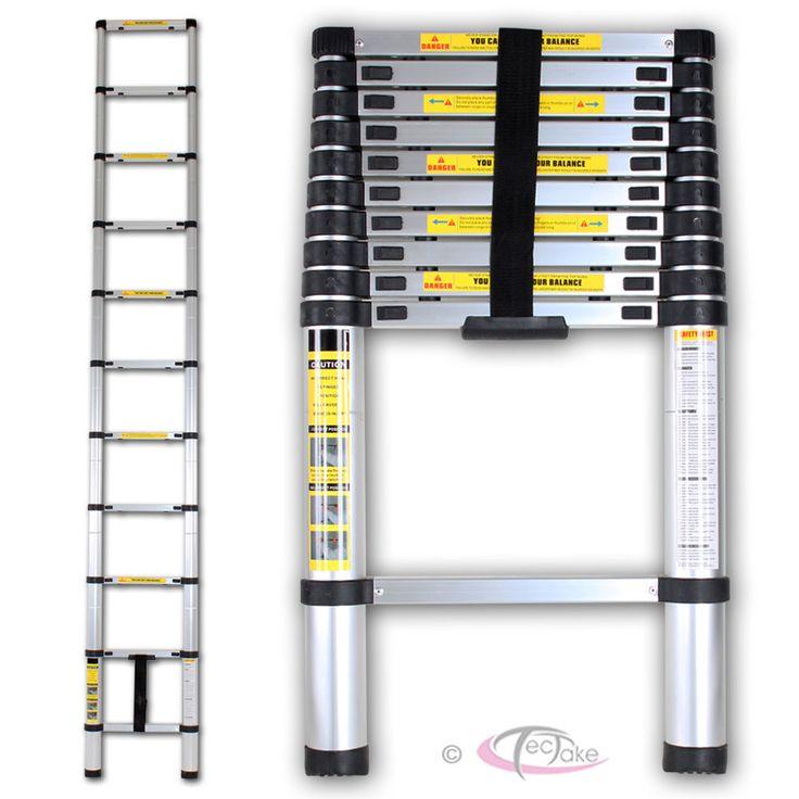 Escalera telescópica de aluminio 320cm multiuso Escalera de apoyo