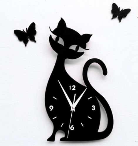 Cat-Reloj-De-Pared-Negro-Moderno-Kitty-Reloj-Diseno-Envio-rapido