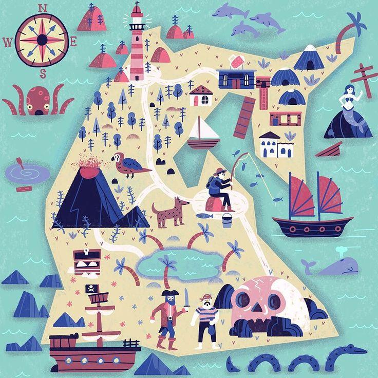 Treasure Island. #map #illustration #muti by studiomuti