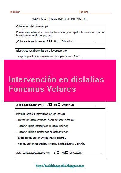 Intervención en las dislalias. Fonemas velares y fonemas bilabiales.