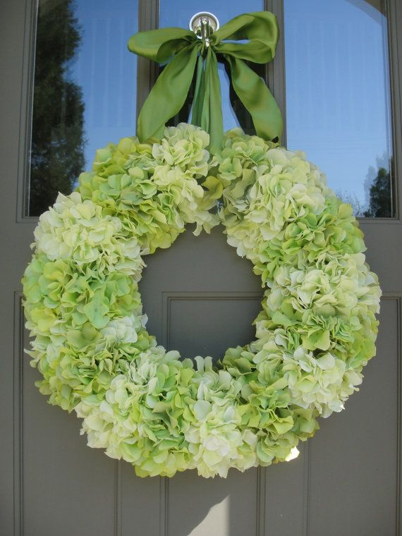 Silk Hydrangea Wreath    Hand Crafted Wreath     Hydrangeas  Holiday Gift   Wedding Wreath  Spring and Summer Wreath on Etsy, $110.00
