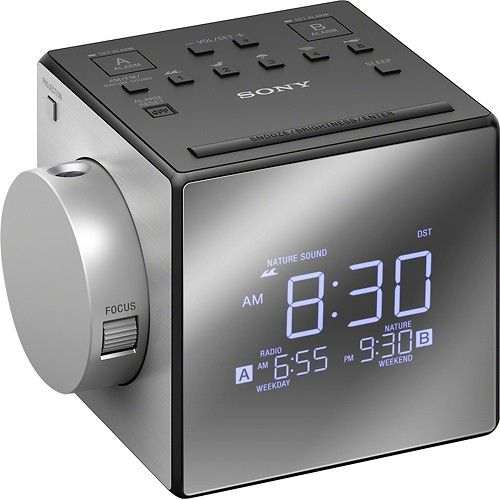 Sony - AM/FM Dual-Alarm Clock Radio - Black/Silver - Larger Front