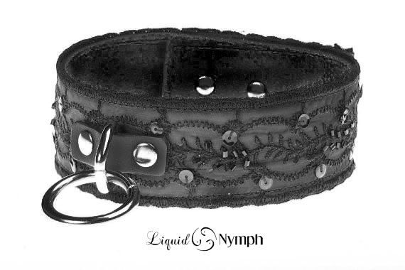 Steampunk - Victoria Black Leather Jet Beaded Embroidered Bondage Choker  Fetish Slave Collar  Submissive Choker  Kitten Pet Play Collar Mature Gift by LiquidNymph