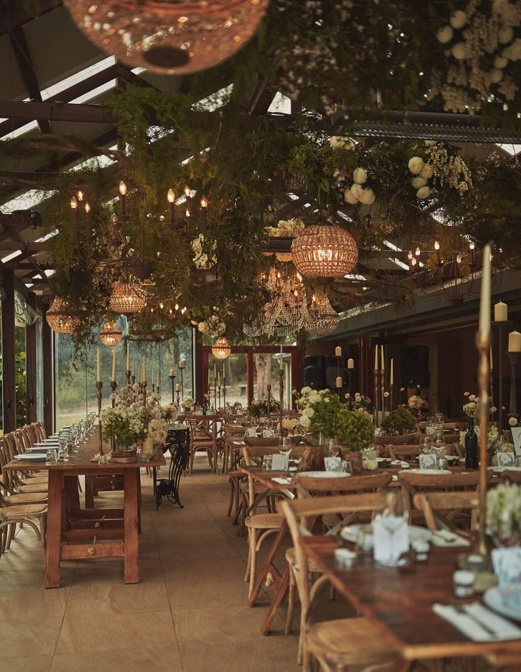 Styling: She Designs. Wedding Reception Function Room with flowers and lights at the Kangaroo Valley Bush Retreat