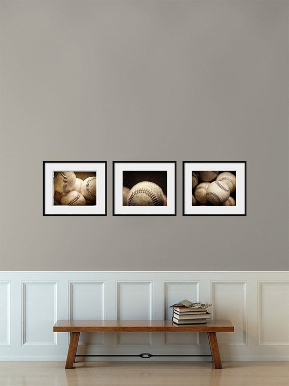 Baseball Print Set of 3 Prints, Gift for Boy, Gift for Man, Game Room, Sports Decor, Baseball Photograph Tryptych, Baseball Trio of Prints. on Etsy, $38.25
