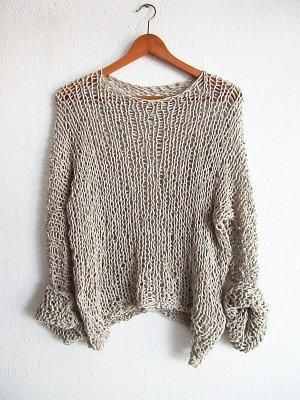 Slouchy  cotton blend sweater. Loose knit sweater.