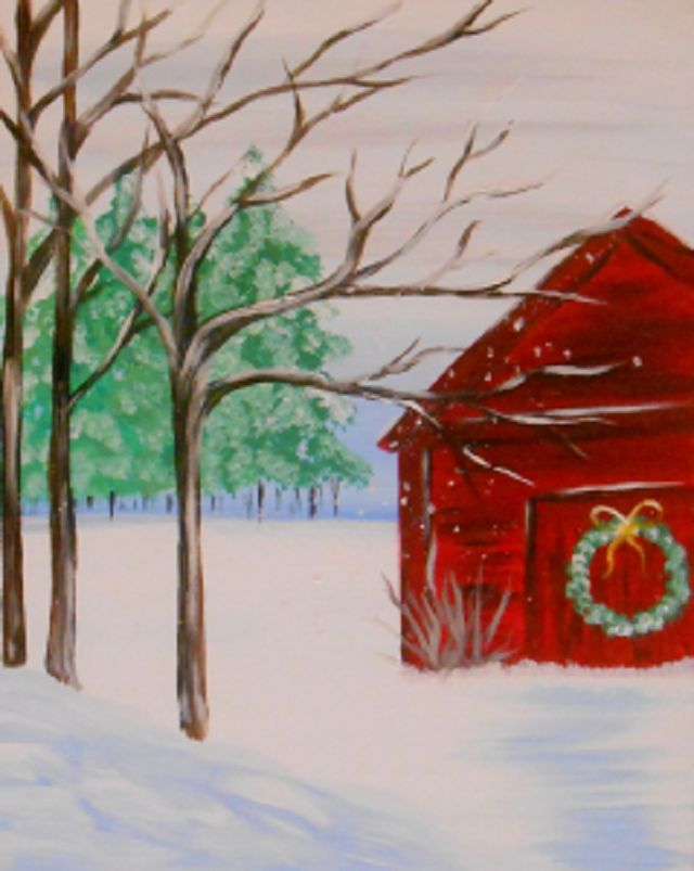 Red barn in december walking through the snow on a cold winter s day