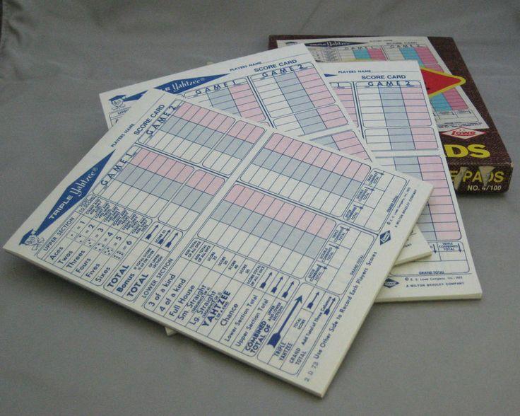 1972 TRIPLE YAHTZEE SCORE CARDS  in Original Box- 3 Pads