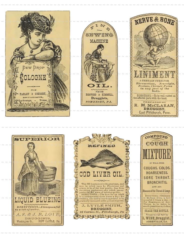 Digital Download Collage Sheet Vintage 1800's Pharmacy Apothecary Druggists Labels (106). $1.00, via Etsy.