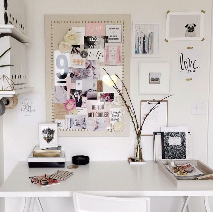 white desk space + art grouping