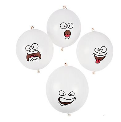Ghost Face Punch Balls (1).  Give 'em a punch and have some fun!  Also great for winter themed events as they resemble snowballs too!  Your guests will have hours of fun playing with these spooky toys. Each rubber punch ball has a 12.7cm rubber band handle.  Inflated: 40.6cm   Price is per (1) ball; comes flat packed. Assorted designs