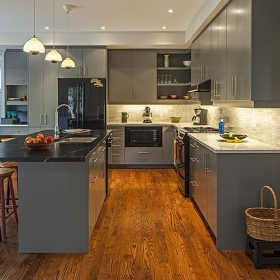 Grey kitchen cabinets with grey wood flooring gray for Grey wood kitchen cabinets