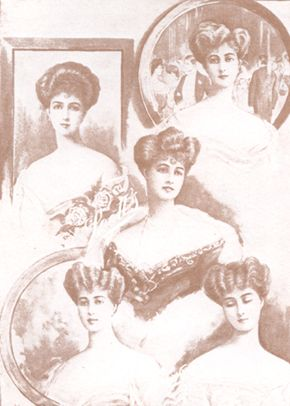 """VICTORIAN HAIR:  The expression, """"a woman's crowning glory"""" had its origins dating back to the Victorian Period. Hair was never cut except in cases of serious illness.  The simplicity of the smooth, center-parted styles worn by women in the Victorian era lasted until the 1870s, when the Parisian hairdresser M. Marcel Grateau created a new, natural-looking wave by turning a curling iron upside down."""