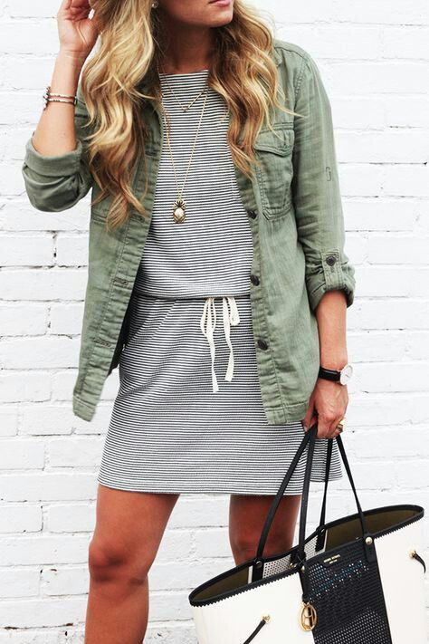 spring dress and military jacket
