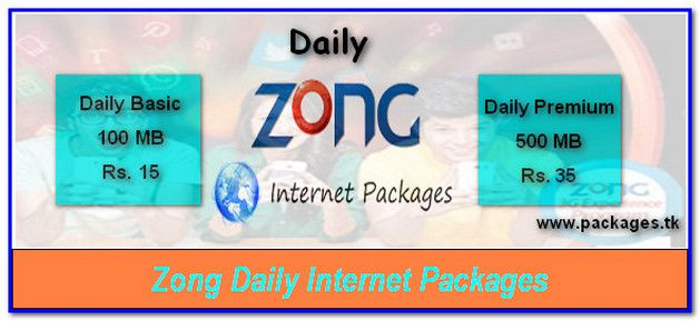 Zong Daily Internet Packages, Daily Basic, Premium 4G Internet