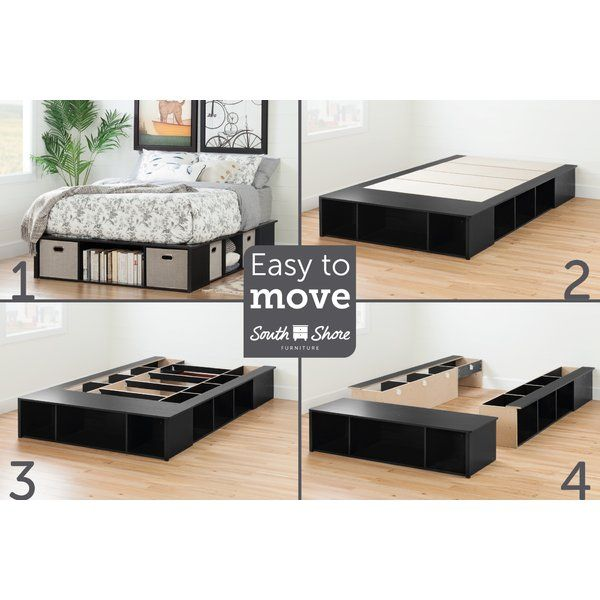 Flexible Full Storage Platform Bed, Queen Bed Frame Easy To Move