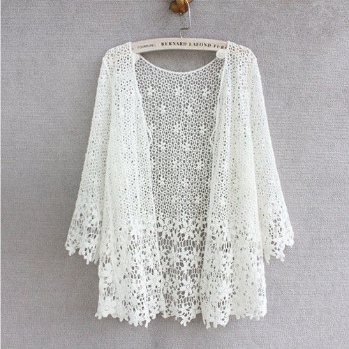 Japanese Style Mori Girl Lace Cardigan Women 2016 Spring Summer New Fashion Floral Hollow-Out Crochet Lace Tops Women dentelle