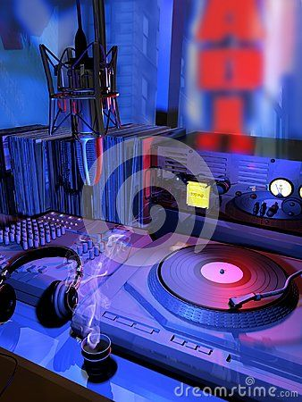 Interior of a radio station, by night with view on the city.  A turntable, a microphone, headphones and a hot coffee cup indicate the presence of the radio commentator