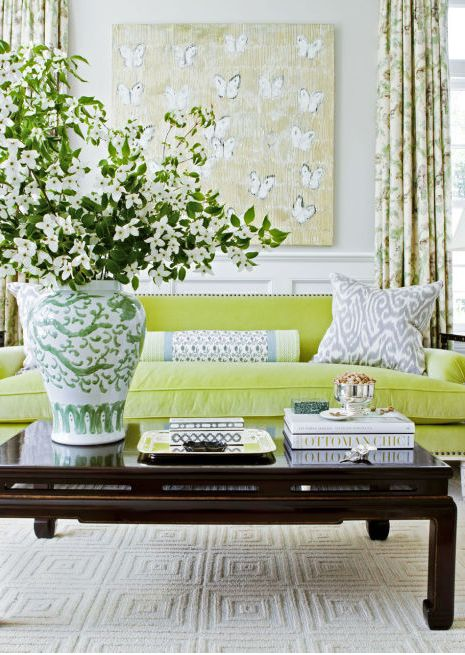 The verdant living room of this Westchester County, New York, house radiates easygoing warmth.