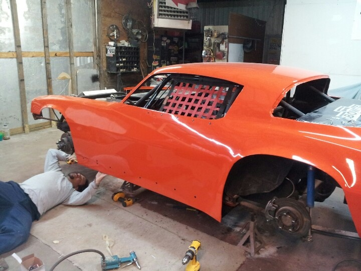 1980 camaro dirt street stock body modified and installed