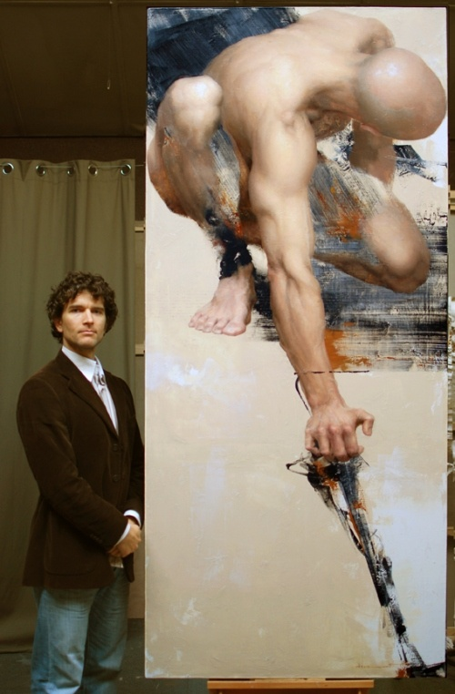 """Shane Wolfe with his painting """"Soumission"""" winner of the Grand Palais in Paris this year"""