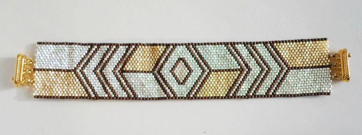 2998 Silver, Gold and Bronze bracelet by Darlene Pfahl