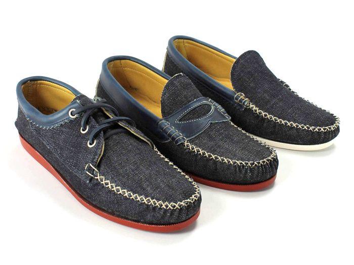 Quoddy Mens Handsewn Selvedge Denim Moccasins, Loafers & Boat Shoes - Made in Denim Picks 2013 Spring Footwear