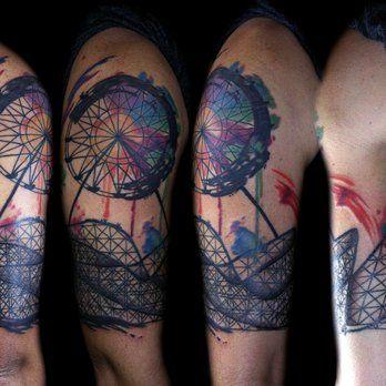ee8842620 abstract ferris wheel tattoo by Deanna Wardin | Yelp | Tattoos | Watercolor  tattoo, Tattoo portfolio, Wild tattoo