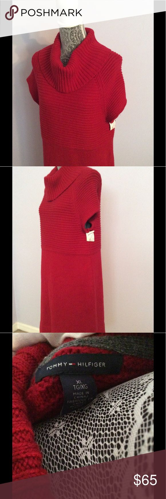 Tommy Hilfiger Tommy Hilfiger short sleeve red sweater dress, above the knee; can be worn as a tunic over leggings. Size XL. Tommy Hilfiger Dresses