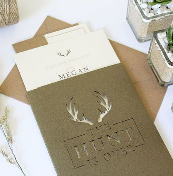 'The Hunt Is Over' Pocket Wedding Invitation Suite