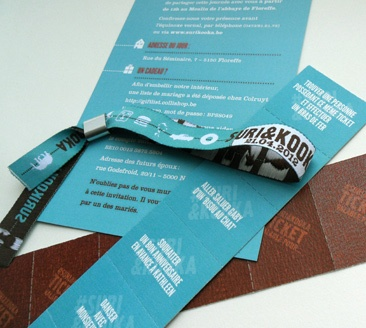 LOVESTOCK HIPPIE WEDDING INVITE AS TICKETS AND WRISTBAND. This would be perfect for our festival like reception.