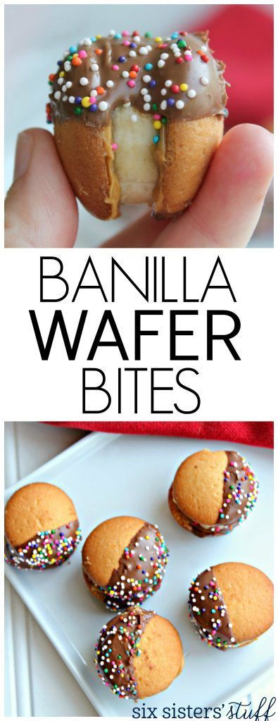 Banilla Wafer bites recipe. Really fun for an afternoon snack or party dessert. How much fun are these? Vanilla wafers with a banana bite in the middle and covered in chocolate! Winner, winner--what a treat!