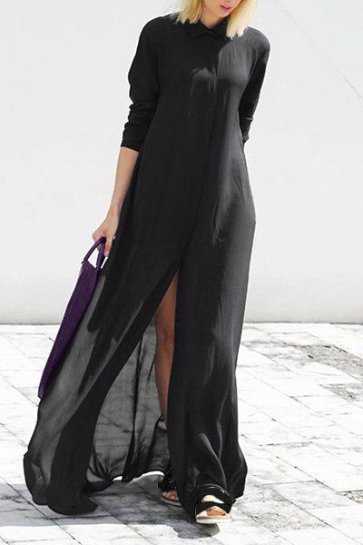 Women s Chic Long Sleeve Pure Color Furcal Dress