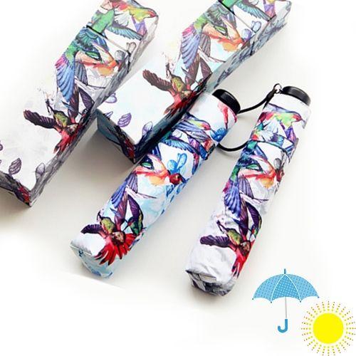 晴雨兼用・UV CUT★自動開閉・折り畳み雨傘(鳥柄)~ギフトボックスつき