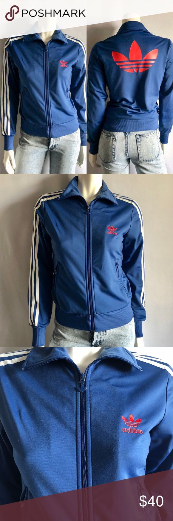Adidas Originals Track Jacket Adidas Originals Track Jacket comes in blue with the trefoil in red with two front pockets with zipper closure, a single front zipper closure. Size: S fits a size 2/4. In excellent used condition. Some paint wear on the zipper. adidas Jackets & Coats