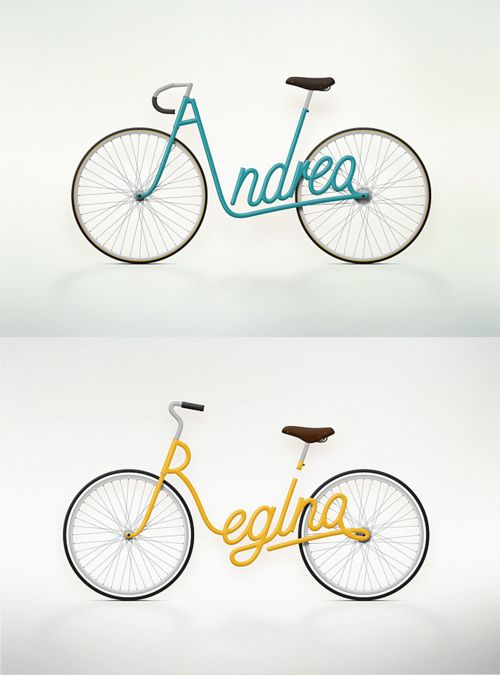 """""""Write a Bike"""" is a serie of bike designs made by Juri Zaech, using the owners name as the frame design making every bike a personal item. Juri is a Swiss Art Director living in Parisand working in advertising. You could take a look at Juri Zaech website or visit his Behance profile to discover more of his work."""